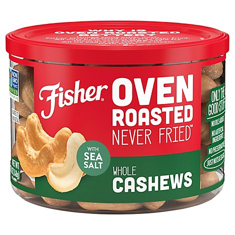 Fisher Cashews Nuts Whole Oven Roasted Never Fried With Sea Salt - 8.75 Oz