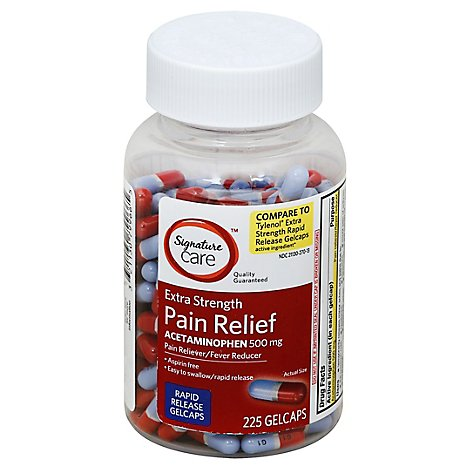 Signature Care Pain Relief PM Gelcap Aceteminophen 500mg Extra Strength Rapid Release - 225 Count