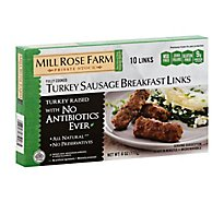 Mill Rose Farm Turkey Sausage All Natural Breakfast Link Skinless Cooked - 6 Oz
