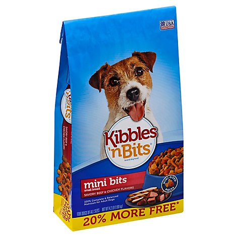 Kibbles N Bits Dog Food Mini Bits Savory Beef & Chicken Flavor Small Breed 20% More Bag - 4.2 Lb