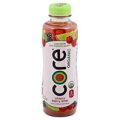 Core Organic Cherry Berry Lime Fruit Infused Antioxidant Beverage - 18 Fl. Oz.
