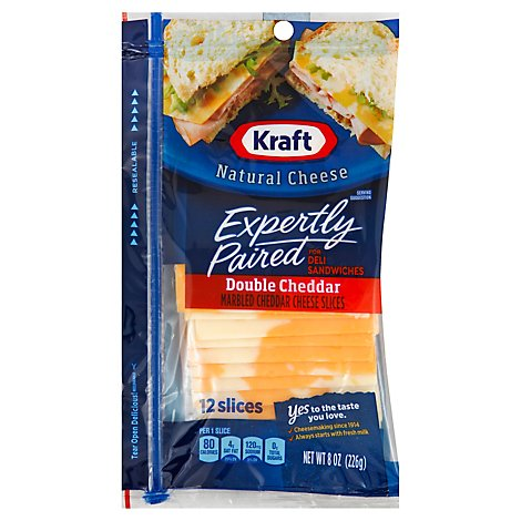 Kraft Double Cheddar Cheese Slices - 8 Oz