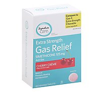 Signature Care Gas Relief Simethicone 125mg Extra Strength Cherry Creme Tablet - 48 Count