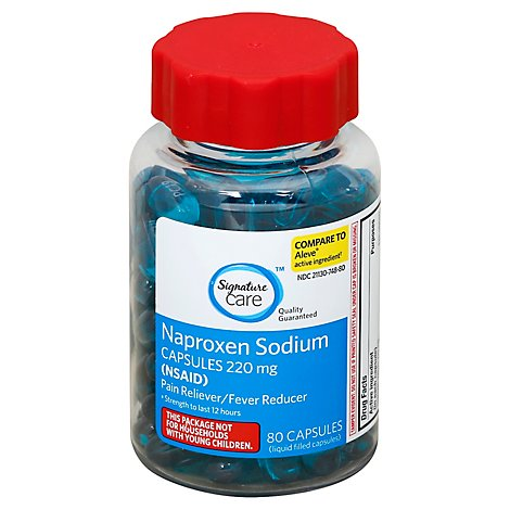 Signature Care Naproxen Sodium 220mg Rain Reliever Fever Reducer NSAID Capsule - 80 Count