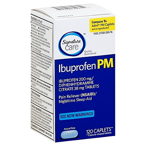 Signature Care Ibuprofen Pain Reliever PM 200mg NSAID Sleep Aid Caplet Blue - 120 Count