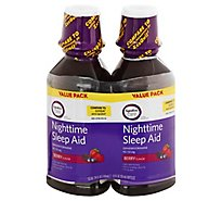 Signature Care Nighttime Sleep Aid Diphenhydramine HCl 50mg Berry - 2-12 Fl. Oz.