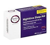 Signature Care Nighttime Sleep Aid Diphenhydramine HCl 25mg Softgel - 48 Count