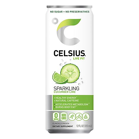 CELSIUS Fitness Drink Naturals Sparkling Cucumber Lime Can - 12 Fl. Oz.