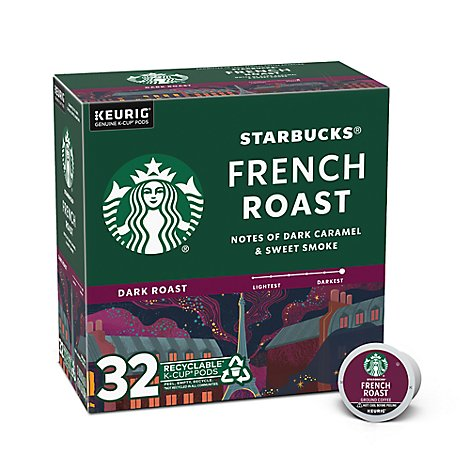 Starbucks Coffee K-Cup Pods Dark Roast French Roast Box - 32-0.44 Oz