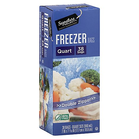 Signature SELECT Bags Freezer Click N Lock Double Zipper Quart - 38 Count