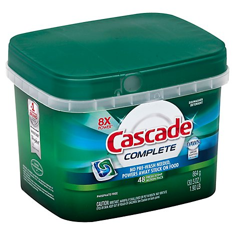 Cascade Complete Dishwasher Detergent ActionPacs Fresh Scent Tub - 43 Count