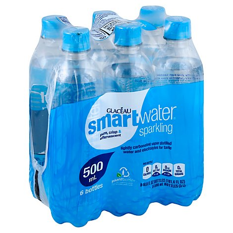smartwater Water Sparkling Vapor Distilled - 6-16.9 Fl. Oz.