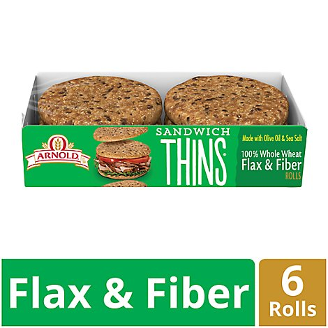 Arnold Rolls Thins Sandwich 100% Whole Wheat Flax & Fiber 6 Count - 12 Oz