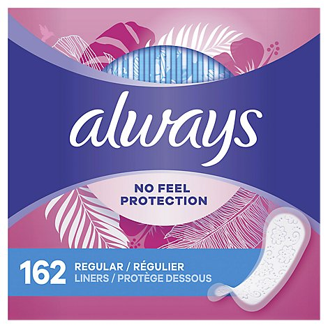 Always Daily Liners Thin No Feel Protection Regular Unscented - 162 Count