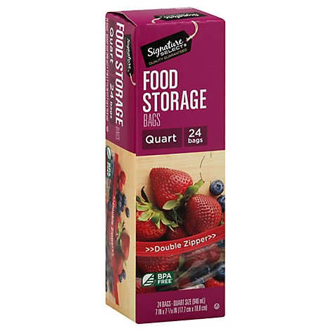 Signature SELECT Bags Food Storage Click & Lock Double Zipper Quart - 24 Count
