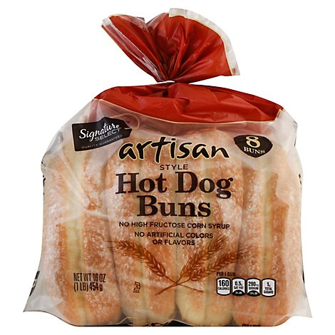 Signature Select Artisan Hot Dog Buns White - 16 Oz