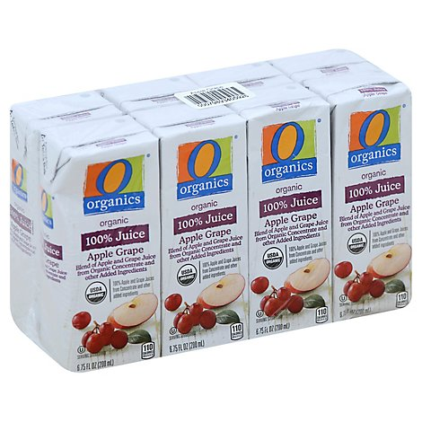 O Organics 100% Tetra Juice Apple Grape - 8-6.75 Fl. Oz.