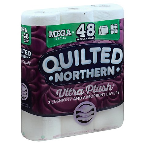 Quilted Northern Ultra Plush Bathroom Tissue Mega Roll 3 Ply White - 12 Roll