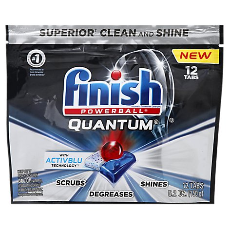 Finish Dishwasher Detergent Powerball Quantum Tablets 12 Count Pouch - 5.2 Oz
