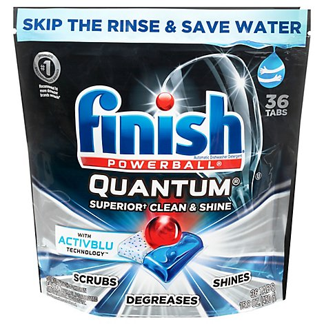 Finish Dishwasher Detergent Powerball Quantum Tablets 36 Count Pouch - 15.8 Oz