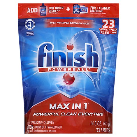 Finish Dishwasher Detergent Powerball Max In 1 Wrap Free Tablets 23 Count Pouch - 14.5 Oz