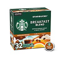 Starbucks Coffee K-Cup Pods Medium Roast Breakfast Blend Box - 32-0.44 Oz