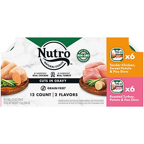 NUTRO Dog Food Petite Eats Adult Variety Chicken & Turkey Entree Cuts In Gravy Box - 12-3.5 Oz