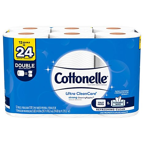 Cottonelle Ultra CleanCare Bathroom Tissue Double Roll 1 Ply - 12 Roll
