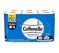 Cottonelle Ultra CleanCare Toilet Paper Double Roll 1 Ply Sheets - 12 Roll