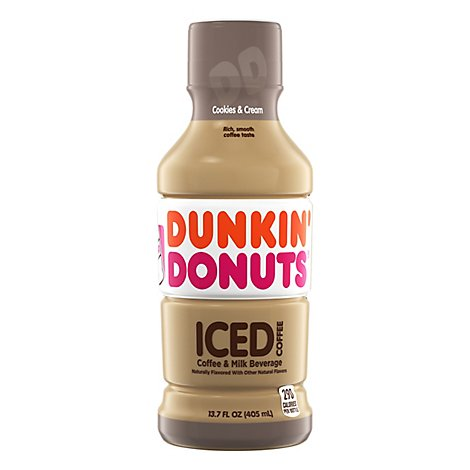 Dunkin Donuts Iced Coffee Beverage Cookies & Cream Bottle - 13.7 Fl. Oz.