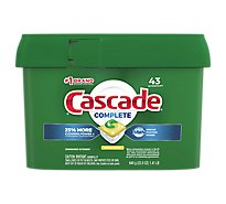 Cascade Complete Dishwasher Detergent ActionPacs Lemon Scent Tub - 43 Count