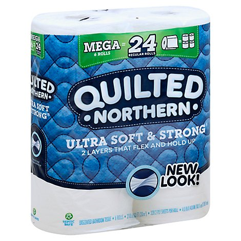 Quilted Northern Bathroom Tissue Ultra Soft & Strong Mega Roll 328 2-Ply Sheets Wrapper - 6 Roll
