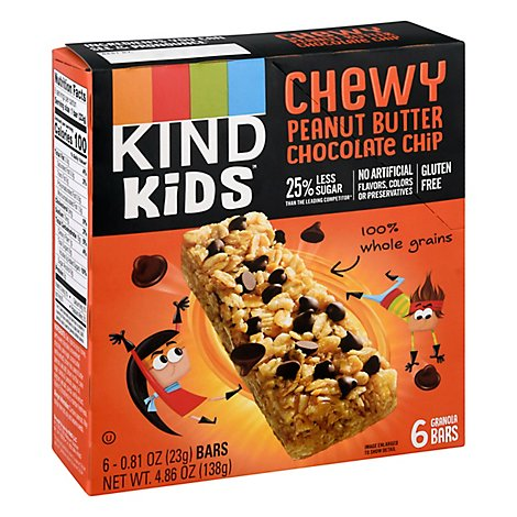 KIND Granola Bars Kids Chewy Peanut Butter Chocolate Chip Box - 6-0.81 Oz