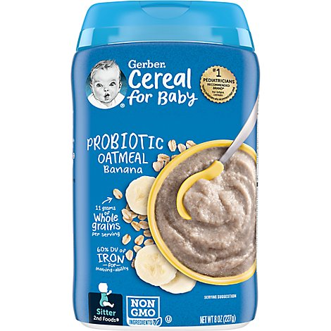 Gerber Cereal Oat Banana Probiotic Bl Tub - 8 Oz