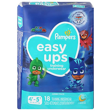 Pampers Easy Ups Training Underwear Boys Size 4T To 5T - 18 Count
