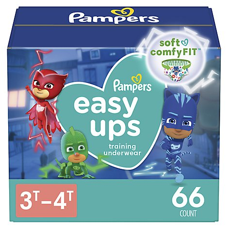Pampers Easy Ups Training Underwear Boys Size 3T To 4T - 66 Count
