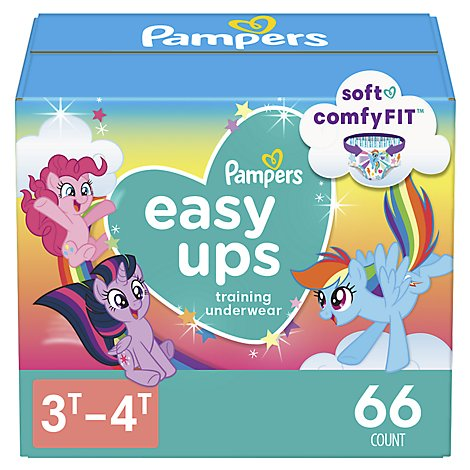 Pampers Easy Ups Training Underwear Girls Size 3T To 4T - 66 Count
