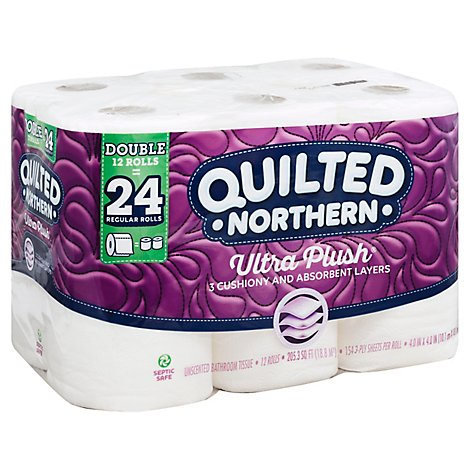 Quilted Northern Bathroom Tissue Ultra Plush Double Rolls 3 Ply Unscented - 12 Roll