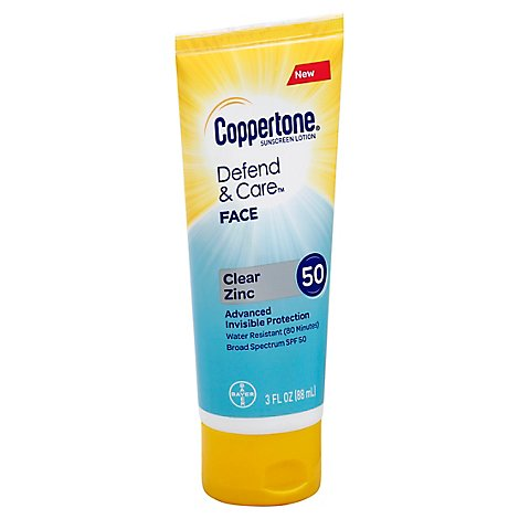 Coppertone Dc Face Lotion Clear Zinc Spf50 - 3 Fl. Oz.