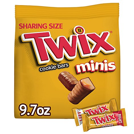 Twix Caramel Minis Size Chocolate Cookie Bar Candy Bag 9.7 oz