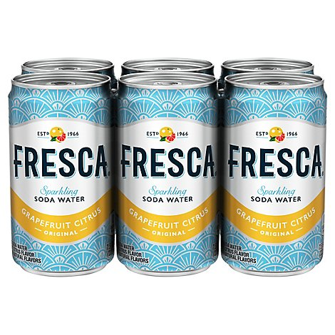 Fresca Soda Flavored Sparkling Sugar Free Zero Calorie Original Citrus Mini Can - 6-7.5 Fl. Oz.
