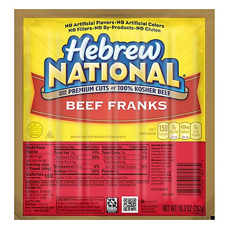 Hebrew National Beef Franks - 10.3 Oz