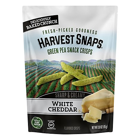 Harvest Snaps Snack Crisps Green Pea Sharp & Creamy White Cheddar - 3 Oz