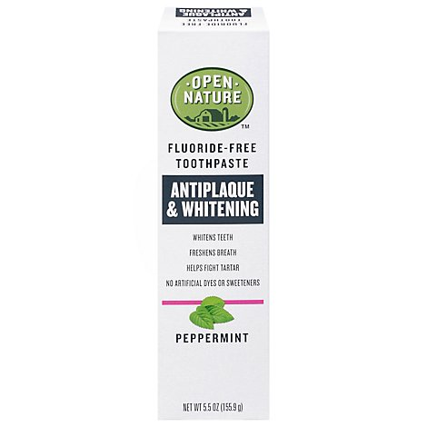 Open Nature Toothpaste Flouride Free Antiplaque & Whitening Peppermint - 5.5 Oz