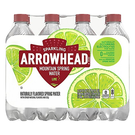 Arrowhead Mountain Spring Water Sparkling Zesty Lime - 8-16.9 Fl. Oz.
