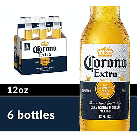 Corona Extra Beer Mexican Lager 4.6% ABV Bottles - 6-12 Fl. Oz.