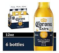 Corona Extra Beer Mexican Lager Bottles 4.6% ABV - 6-12 Fl. Oz.