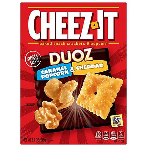 Cheez-It Baked Snack Cheese Crackers Pretzels & Popcorn Caramel Popcorn & Cheddar - 8.7 Oz