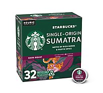 Starbucks Coffee K-Cup Pods Dark Roast Sumatra Box - 32-0.42 Oz