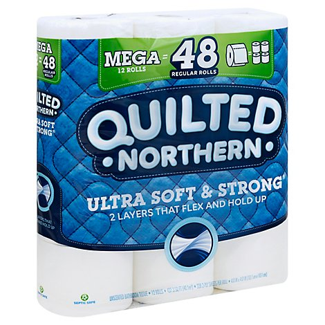 Quilted Northern Ultra Soft & Strong Bathroom Tissue Mega Roll 2 Ply White - 12 Roll